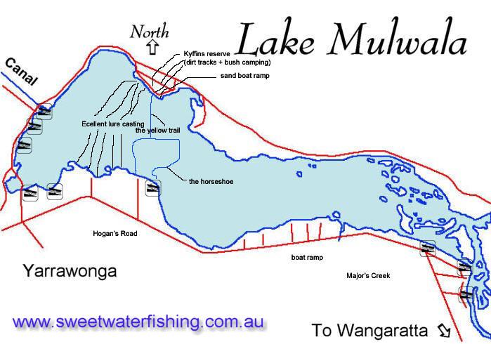 Lake mulwala yarrawonga weir yarrawonga sweetwater for Take me fishing lake locator
